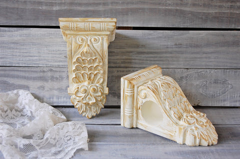 Ivory & gold drapery sconces