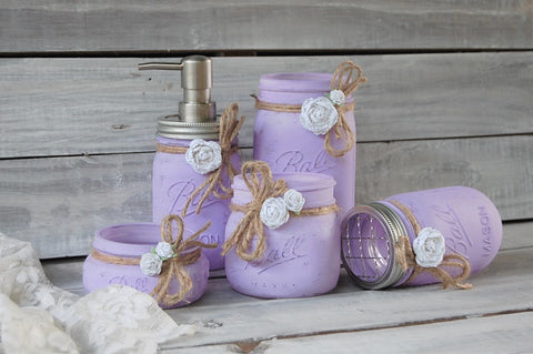 Lavender mason jar bathroom set
