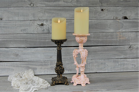 Pink & black candle holders