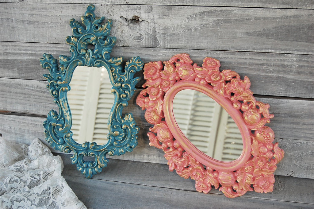 Salmon & teal mirrors