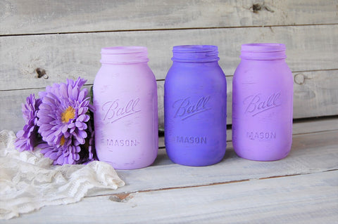 Purple painted mason jars
