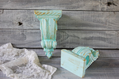 Mint & gold drapery sconces