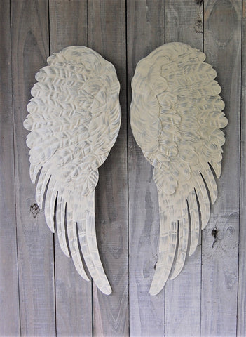 Ivory & silver angel wings