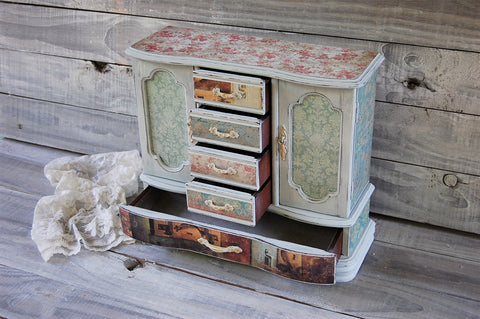 Grey farmhouse chest