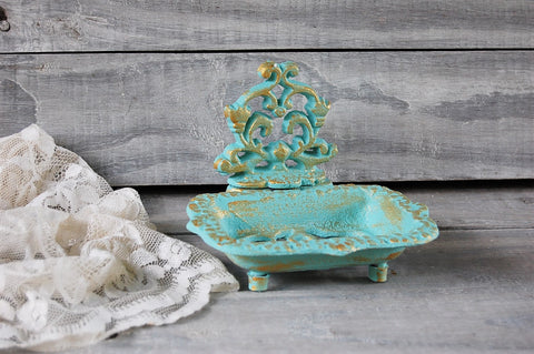 Aqua & gold soap dish