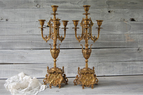 Antique bronze candelabras
