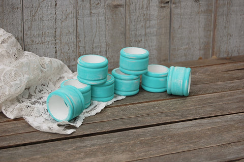 Aqua & white napkin rings
