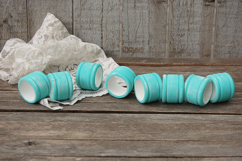 Aqua & white napkin rings - The Vintage Artistry