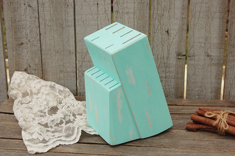 Hand painted mint green knife block - The Vintage Artistry