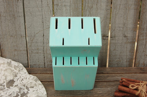 Hand painted mint green knife block