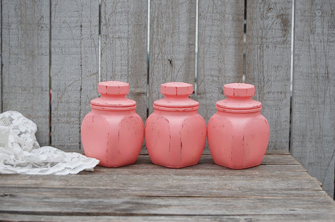 Coral spice or tea jars - The Vintage Artistry