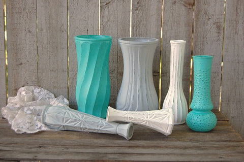 Aqua, grey & white vases