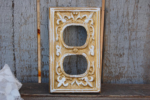 Gold double outlet cover