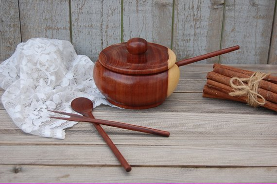 Teak condiment bowl