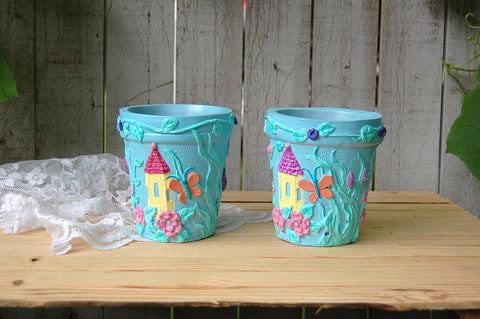 Blue shabby chic flower or herb pots