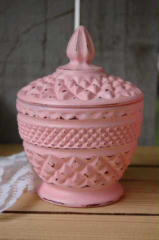Pink shabby chic sugar bowl and creamer