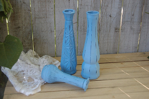 Blue shabby chic vase set - The Vintage Artistry