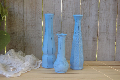 Blue shabby chic vase set