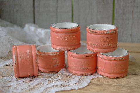 Coral and white napkin rings