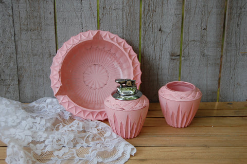 Pink shabby chic lighter and ashtray set