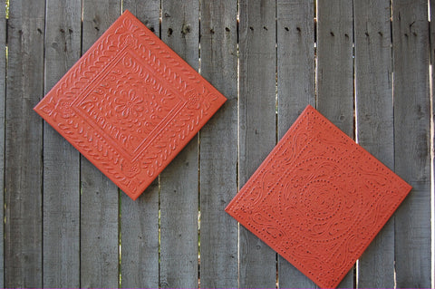 Coral tin wall decor
