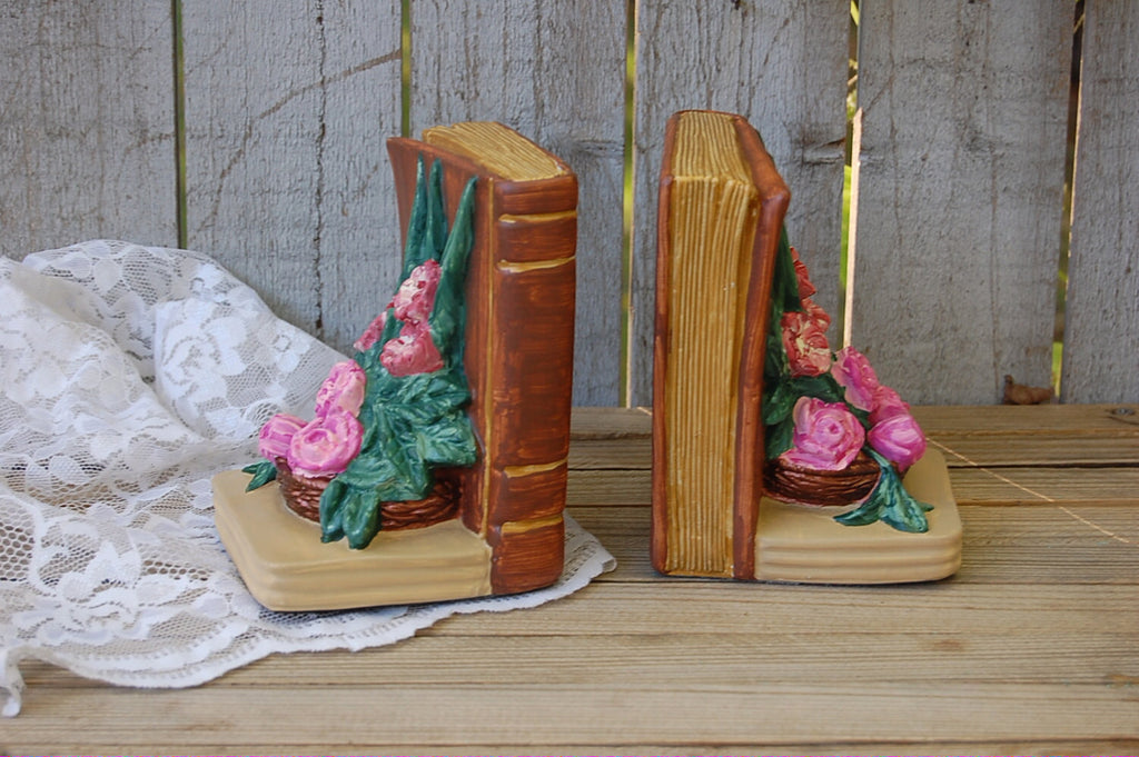 Hand painted bookends with roses