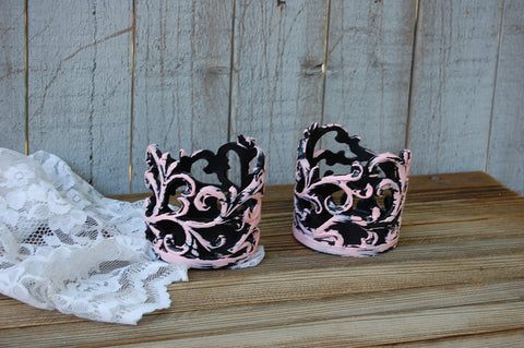 Shabby chic pillar candle holders