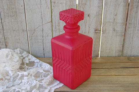 Red glass liquor decanter