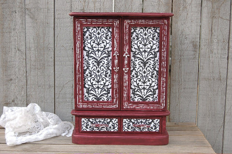 Shabby chic jewelry armoire and music box