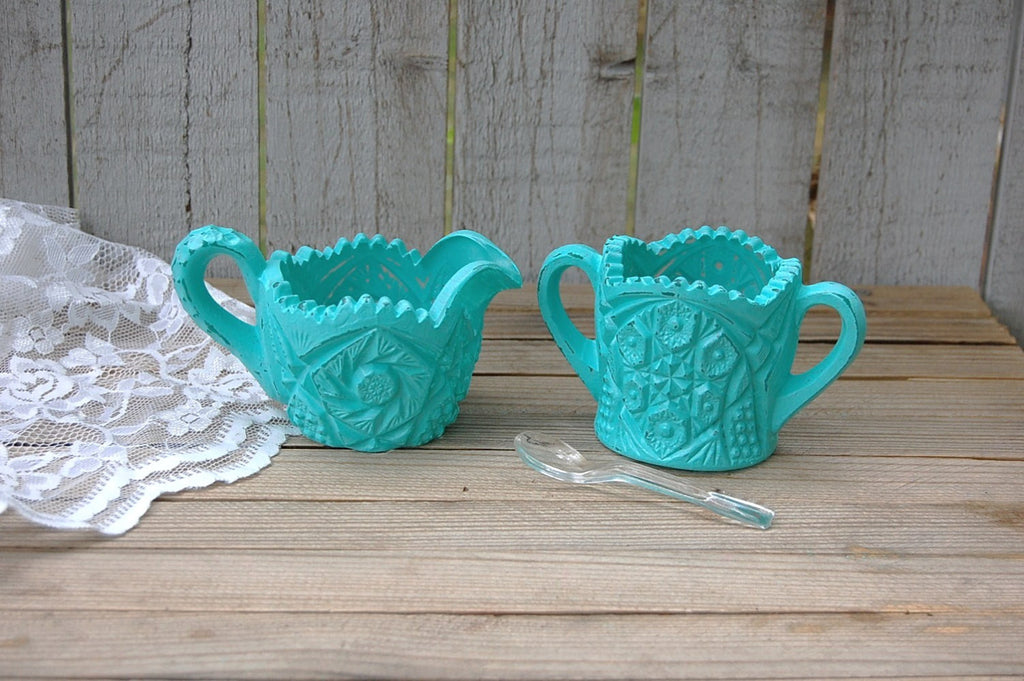 Aqua sugar bowl and creamer - The Vintage Artistry