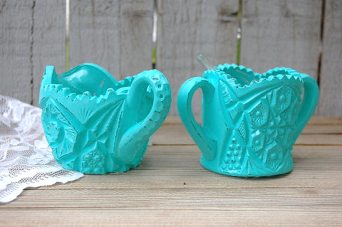 Aqua sugar bowl and creamer