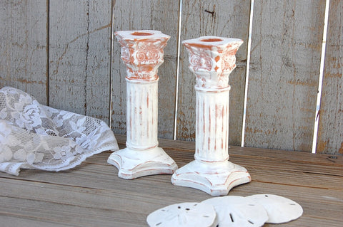 Painted terra cotta candlesticks