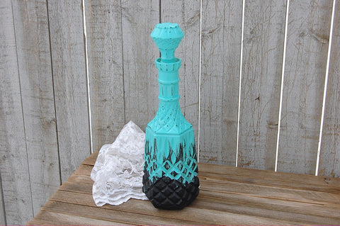 Aqua and black glass decanter - The Vintage Artistry