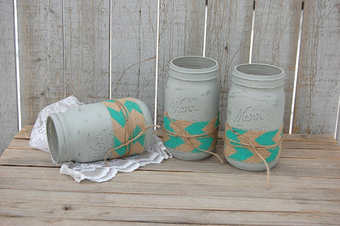Aqua and grey chevron mason jars