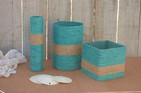 Turquoise and natural jute vases