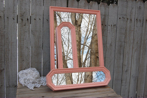 3 peach painted mirrors