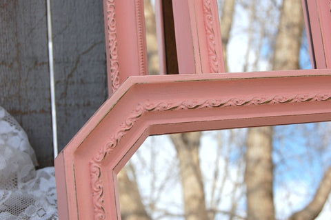 3 peach painted mirrors - The Vintage Artistry