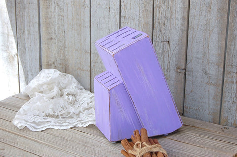 Upcycled purple knife block