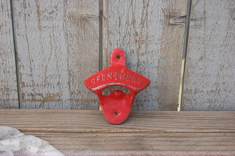 Retro open here bottle opener