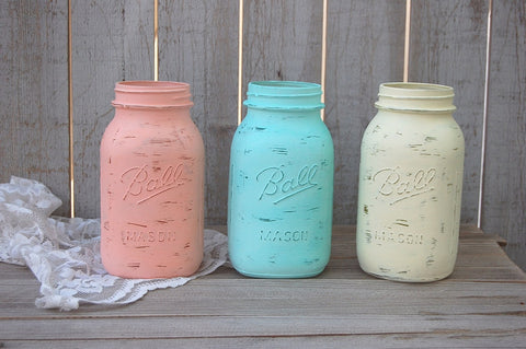 Mason Jars in mint, coral and ivory
