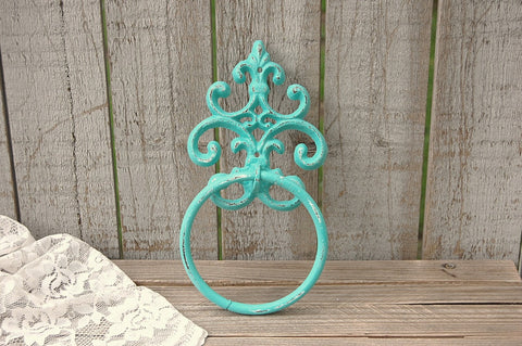 Aqua shabby chic towel ring