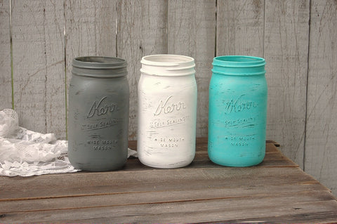 Aqua, grey and white mason jars