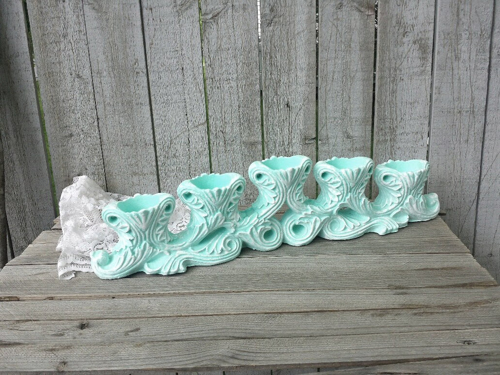 Mint green tealight candle holder