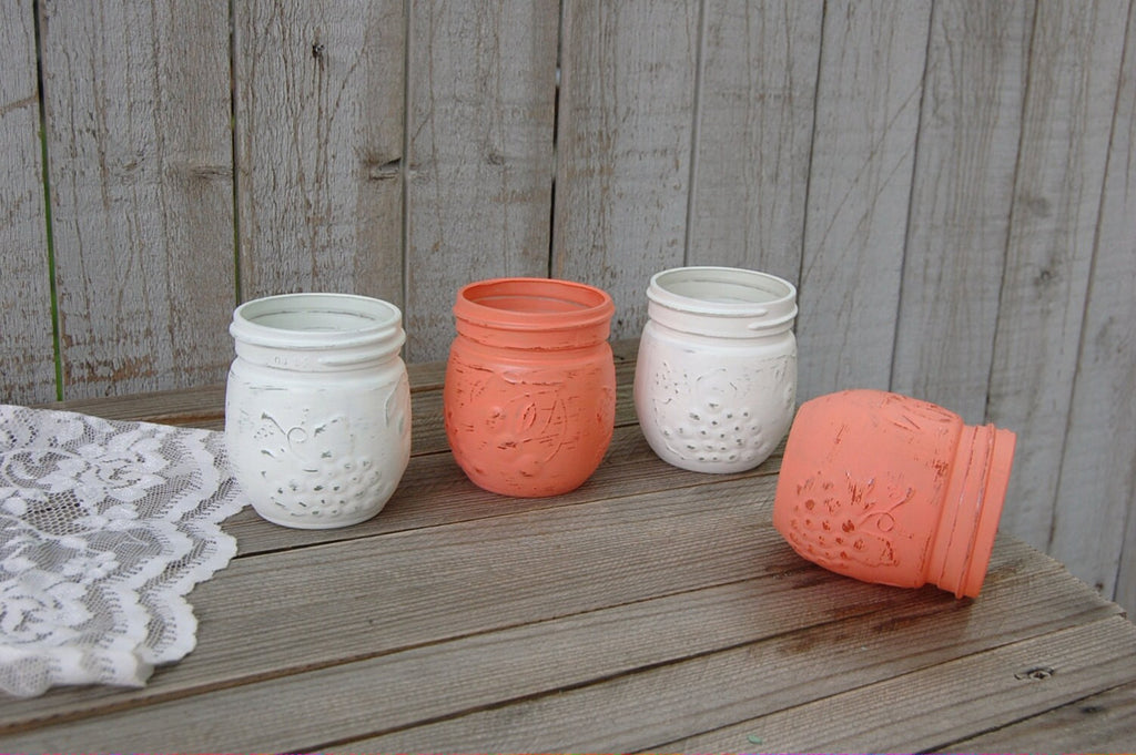 Coral and white jelly jars
