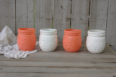 Coral and white jelly jars - The Vintage Artistry
