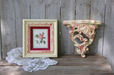 Framed botanical and shelf set - The Vintage Artistry