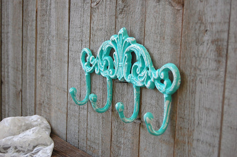 Cast iron wall organizer hooks
