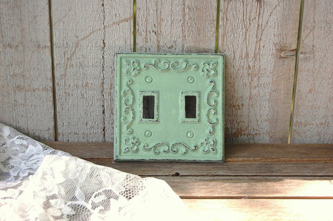 Sage green double wall plate