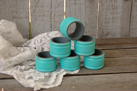 Aqua wood napkin rings
