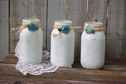 White and turquoise mason jars